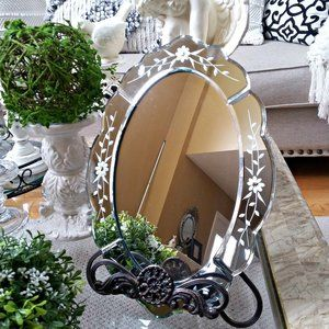 "VINTAGE Inspired ""GLAM"" Oval ETCHED Wall MIRROR"